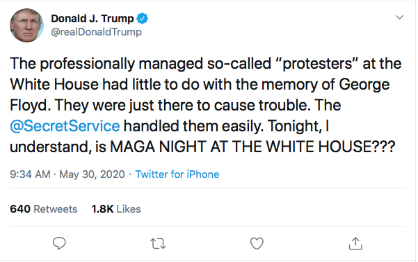 Screen-Shot-2020-05-30-at-9.35.08-AM Trump Instructs MAGA Followers To Confront Protestors Tonight At W.H. Black Lives Matter Donald Trump Featured Politics Protest Top Stories Twitter