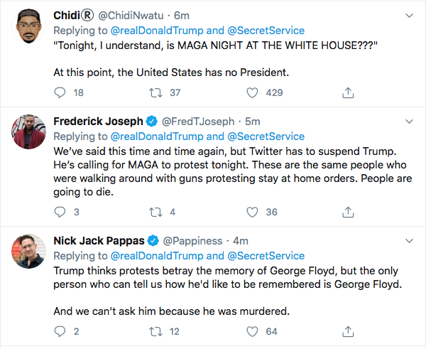 Screen-Shot-2020-05-30-at-9.41.53-AM Trump Instructs MAGA Followers To Confront Protestors Tonight At W.H. Black Lives Matter Donald Trump Featured Politics Protest Top Stories Twitter
