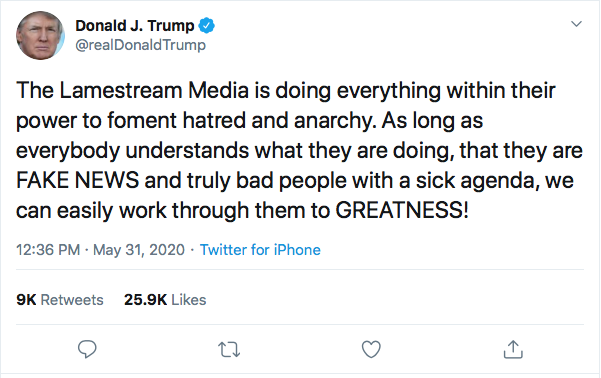 Screen-Shot-2020-05-31-at-12.46.10-PM Trump Breaks Silence With Insanity-Fueled Sunday Twitter Rant Black Lives Matter Donald Trump Featured Politics Racism Top Stories