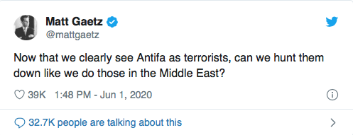 Screen-Shot-2020-06-01-at-10.07.58-PM Violent Tweet From Rep. Matt Gaetz (R-FL) Removed On Twitter Conspiracy Theory Donald Trump Featured Politics Social Media Top Stories Twitter