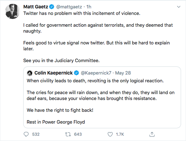 Screen-Shot-2020-06-01-at-10.08.32-PM-1 Violent Tweet From Rep. Matt Gaetz (R-FL) Removed On Twitter Conspiracy Theory Donald Trump Featured Politics Social Media Top Stories Twitter