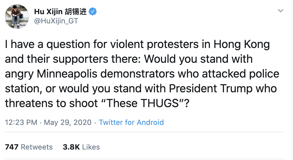 Screen-Shot-2020-06-01-at-9.29.29-AM China Publicly Embarrasses Trump Over Police Violence In America Featured Foreign Policy Human Rights Politics Top Stories