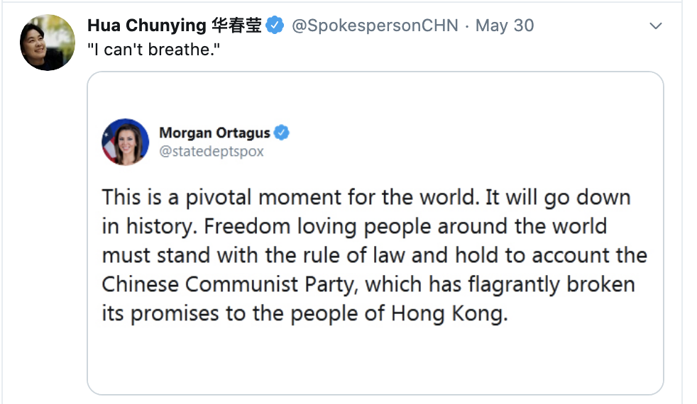 Screen-Shot-2020-06-01-at-9.31.00-AM China Publicly Embarrasses Trump Over Police Violence In America Featured Foreign Policy Human Rights Politics Top Stories