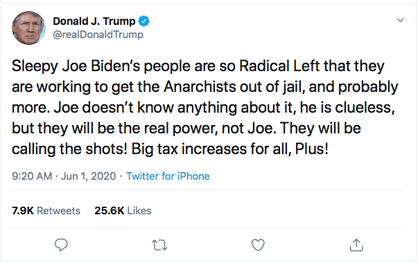 Screen-Shot-2020-06-01-at-9.36.16-AM Trump Sees Monday Polls & Begins Rage Tweeting About 'Anarchists' Like A Maniac Donald Trump Featured Politics Racism Top Stories Twitter