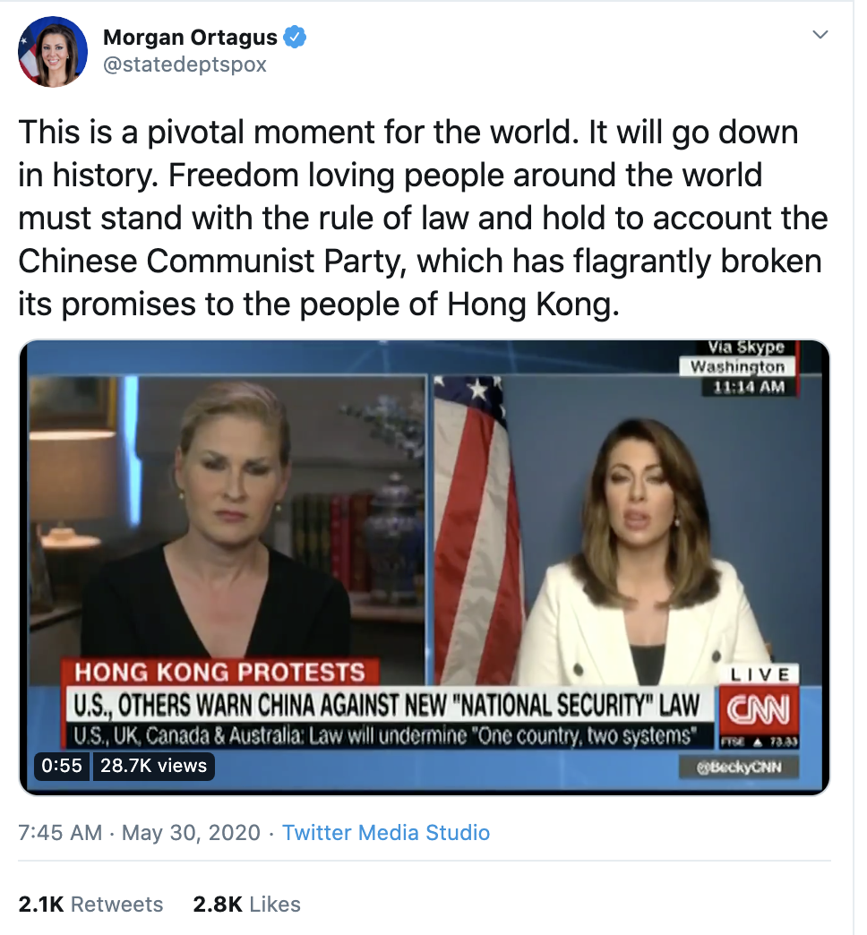 Screen-Shot-2020-06-01-at-9.38.38-AM China Publicly Embarrasses Trump Over Police Violence In America Featured Foreign Policy Human Rights Politics Top Stories