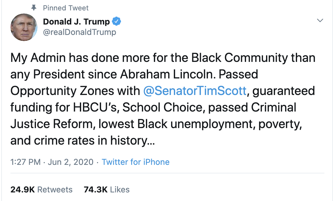 Screen-Shot-2020-06-02-at-2.27.17-PM Trump Declares Black People Love Him During Unhinged Afternoon Outburst Black Lives Matter Featured Military Politics Top Stories