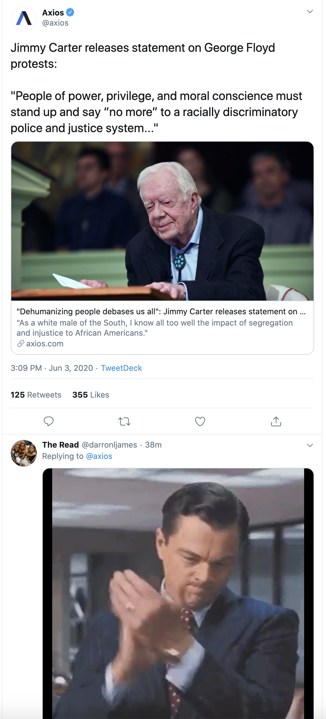 Screen-Shot-2020-06-03-at-3.55.13-PM Jimmy Carter Shows GOP How To Lead With Patriotic Protest Message Black Lives Matter Corruption Featured Racism Top Stories