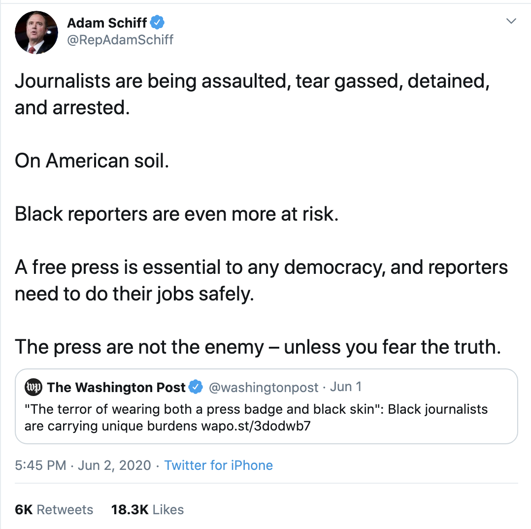 Screen-Shot-2020-06-03-at-9.17.28-AM Schiff Makes Thursday Move To Protect Journalists From Trump Aggression Black Lives Matter Featured Media Politics Top Stories