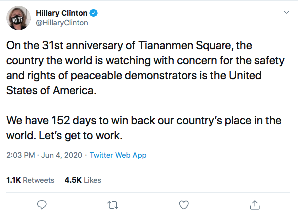 Screen-Shot-2020-06-04-at-2.16.25-PM Hillary References 'Tiananmen Square' To Defeat Trump During Thursday Tweet Black Lives Matter Donald Trump Election 2020 Featured Hillary Clinton Politics Top Stories Twitter