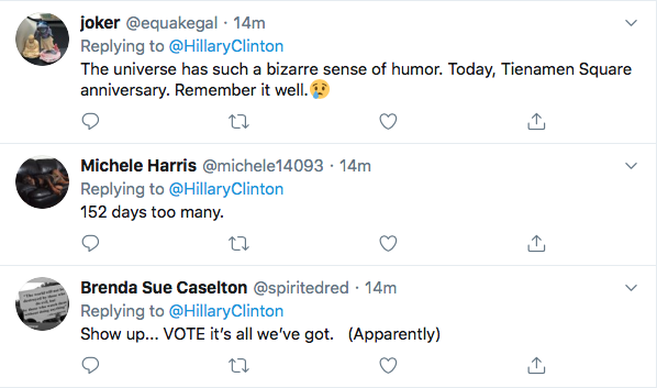Screen-Shot-2020-06-04-at-2.19.43-PM Hillary References 'Tiananmen Square' To Defeat Trump During Thursday Tweet Black Lives Matter Donald Trump Election 2020 Featured Hillary Clinton Politics Top Stories Twitter