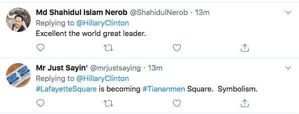 Screen-Shot-2020-06-04-at-2.21.29-PM Hillary References 'Tiananmen Square' To Defeat Trump During Thursday Tweet Black Lives Matter Donald Trump Election 2020 Featured Hillary Clinton Politics Top Stories Twitter