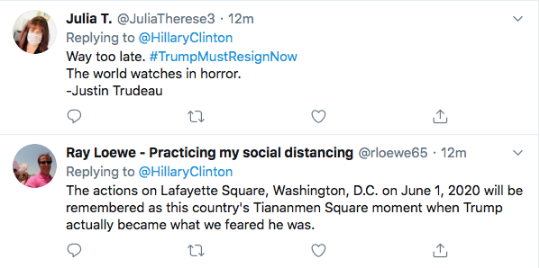 Screen-Shot-2020-06-04-at-2.21.46-PM Hillary References 'Tiananmen Square' To Defeat Trump During Thursday Tweet Black Lives Matter Donald Trump Election 2020 Featured Hillary Clinton Politics Top Stories Twitter