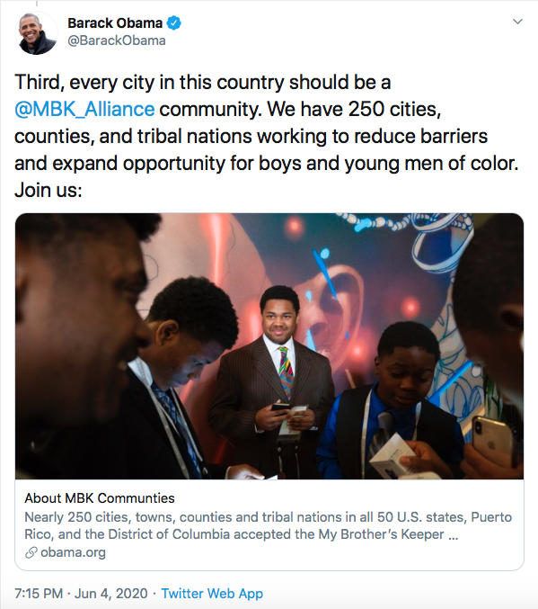 Screen-Shot-2020-06-04-at-8.25.19-PM Obama Issues 3-Tweet Instructions To America Like Our Real President Black Lives Matter Donald Trump Featured Politics Racism Top Stories Twitter