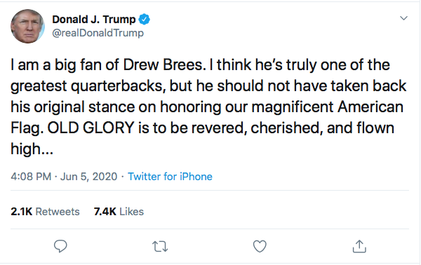 Screen-Shot-2020-06-05-at-4.11.36-PM Trump Yells 'No Kneeling' At Drew Brees During Friday Protest Meltdown Black Lives Matter Donald Trump Featured Politics Racism Top Stories Twitter