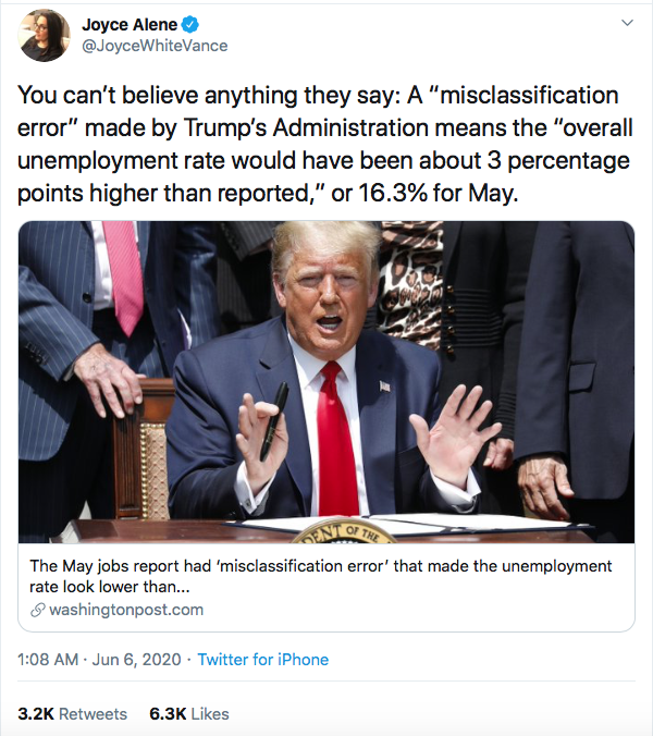 Screen-Shot-2020-06-06-at-9.15.12-AM Trump Caught Faking Job Numbers After 'Misclassifications' Discovered Donald Trump Economy Featured Politics Poverty Top Stories