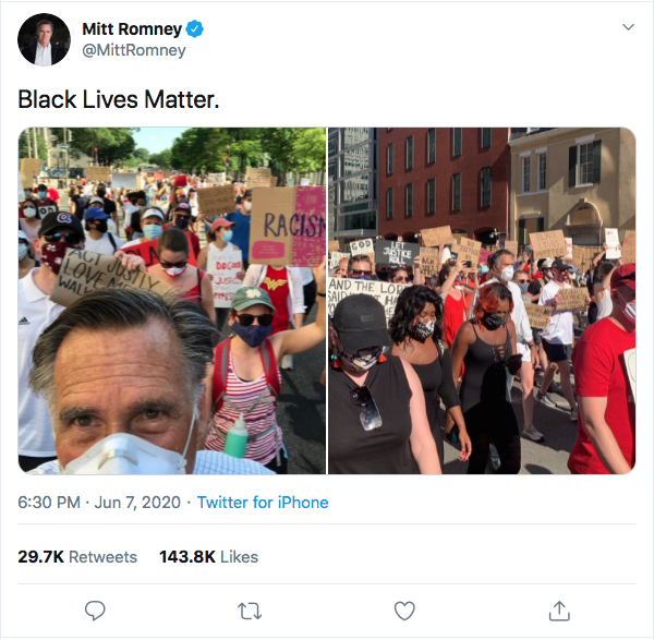 Screen-Shot-2020-06-07-at-8.26.19-PM Romney Shows Up Trump Again With Sunday Night Message To America Activism Black Lives Matter Donald Trump Featured Politics Protest Top Stories