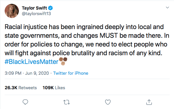 Screen-Shot-2020-06-09-at-5.43.31-PM Taylor Swift Becomes GOP's Nightmare With 2020 Vote Declaration Black Lives Matter Celebrities Donald Trump Featured Politics Protest Racism Top Stories Twitter