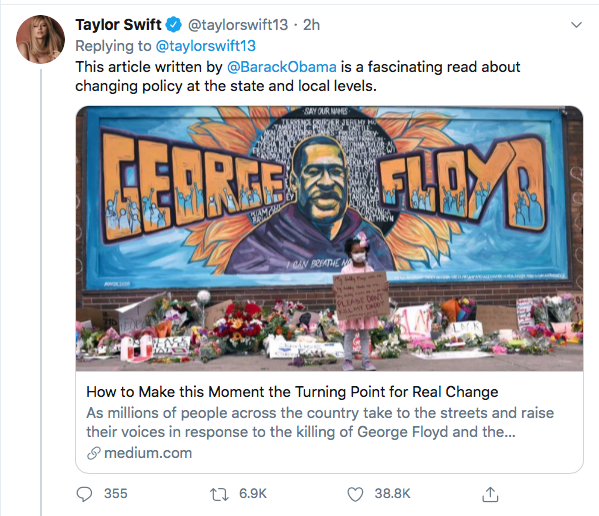 Screen-Shot-2020-06-09-at-5.43.42-PM Taylor Swift Becomes GOP's Nightmare With 2020 Vote Declaration Black Lives Matter Celebrities Donald Trump Featured Politics Protest Racism Top Stories Twitter
