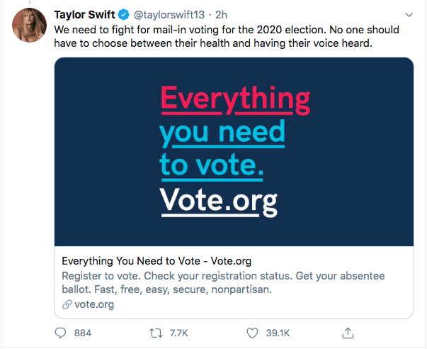 Screen-Shot-2020-06-09-at-5.43.50-PM Taylor Swift Becomes GOP's Nightmare With 2020 Vote Declaration Black Lives Matter Celebrities Donald Trump Featured Politics Protest Racism Top Stories Twitter