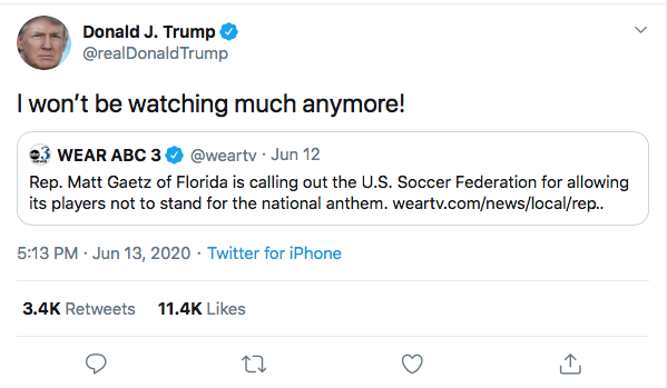 Screen-Shot-2020-06-13-at-5.24.40-PM Trump Threatens NFL Boycott Over Flag Kneel During Afternoon Meltdown Black Lives Matter Donald Trump Featured Politics Protest Racism Top Stories Twitter
