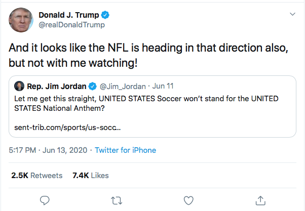 Screen-Shot-2020-06-13-at-5.24.54-PM Trump Threatens NFL Boycott Over Flag Kneel During Afternoon Meltdown Black Lives Matter Donald Trump Featured Politics Protest Racism Top Stories Twitter