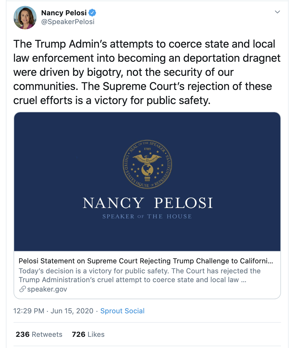Screen-Shot-2020-06-15-at-12.35.19-PM Pelsoi Rubs Trump's Face In Monday SCOTUS Loss Child Abuse Featured Immigration Politics Top Stories