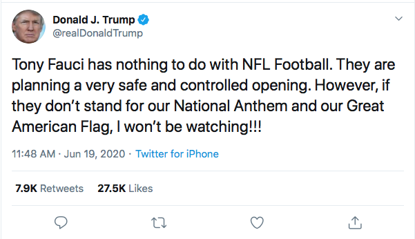 Screen-Shot-2020-06-19-at-12.08.34-PM Trump Attacks Dr. Fauci & Announces New NFL Boycott During Friday Freak Out Black Lives Matter