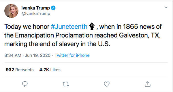 Screen-Shot-2020-06-19-at-9.47.40-AM Ivanka Attempts Tweeting About Juneteenth But Gets Rejected Hard Black Lives Matter Donald Trump Election 2020 Featured Politics Racism Top Stories Twitter