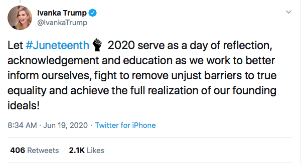 Screen-Shot-2020-06-19-at-9.47.51-AM Ivanka Attempts Tweeting About Juneteenth But Gets Rejected Hard Black Lives Matter Donald Trump Election 2020 Featured Politics Racism Top Stories Twitter