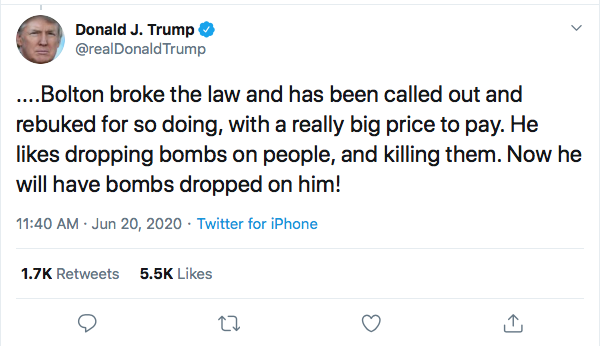 Screen-Shot-2020-06-20-at-11.46.09-AM Trump Threatens Violence Against Bolton During Mid-Morning Freak-Out Donald Trump Featured Politics Top Stories