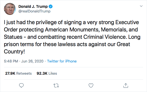 Screen-Shot-2020-06-26-at-7.36.59-PM Trump Launches Friday Night Twitter Binge Against Black Lives Matter Protesters Donald Trump Election 2020 Featured Politics Top Stories Twitter