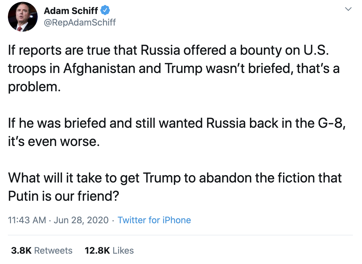 Screen-Shot-2020-06-28-at-12.17.21-PM Schiff Sounds The Alarm Over Putin Bounties With Sunday Trump Take-Down Featured Military Russia Top Stories