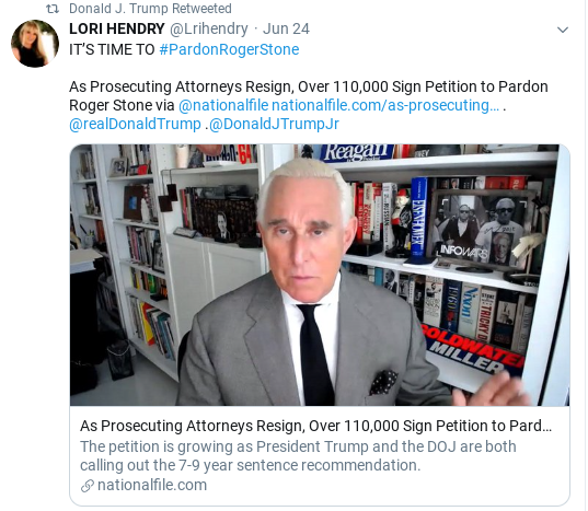Screenshot-2020-06-27-at-1.01.39-PM-1 Trump Tweets Hint Of Possible Roger Stone Pardon Corruption Donald Trump Politics Social Media Top Stories