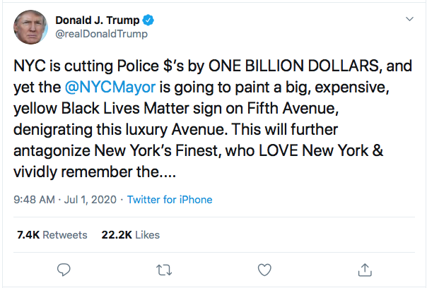 Screen-Shot-2020-07-01-at-10.26.36-AM Trump Has Mid-Morning Emotional Breakdown Over Black Lives Matter Victory Black Lives Matter Donald Trump Election 2020 Featured Politics Protest Racism Top Stories Twitter