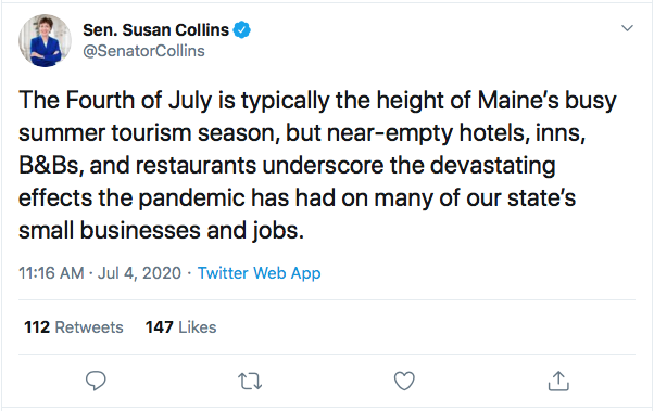 Screen-Shot-2020-07-04-at-1.55.41-PM Susan Collins' Phony 4th Of July Message Goes Horribly Wrong Coronavirus Donald Trump Election 2020 Featured Politics Top Stories Twitter