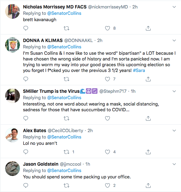 Screen-Shot-2020-07-04-at-1.56.45-PM Susan Collins' Phony 4th Of July Message Goes Horribly Wrong Coronavirus Donald Trump Election 2020 Featured Politics Top Stories Twitter