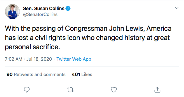 Screen-Shot-2020-07-18-at-11.13.11-AM Susan Collins Attempts John Lewis Tribute But Fails Miserably Election 2020 Featured Politics Top Stories Twitter