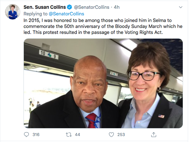 Screen-Shot-2020-07-18-at-11.13.23-AM Susan Collins Attempts John Lewis Tribute But Fails Miserably Election 2020 Featured Politics Top Stories Twitter