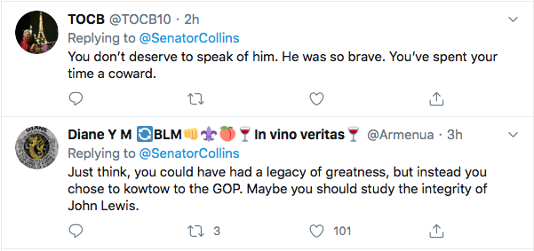 Screen-Shot-2020-07-18-at-11.15.17-AM Susan Collins Attempts John Lewis Tribute But Fails Miserably Election 2020 Featured Politics Top Stories Twitter