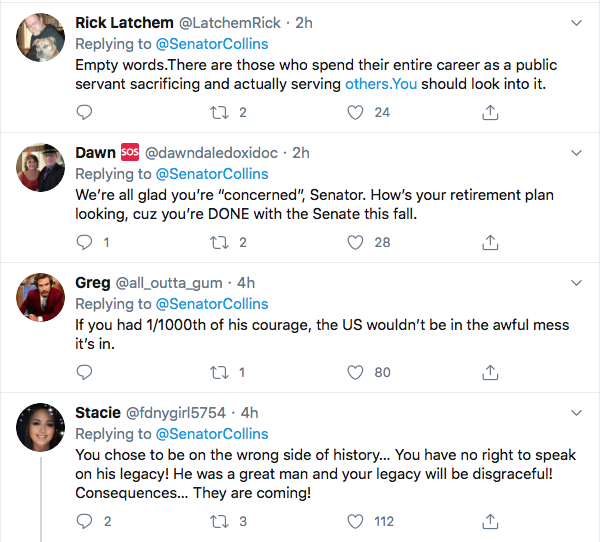 Screen-Shot-2020-07-18-at-11.16.14-AM Susan Collins Attempts John Lewis Tribute But Fails Miserably Election 2020 Featured Politics Top Stories Twitter