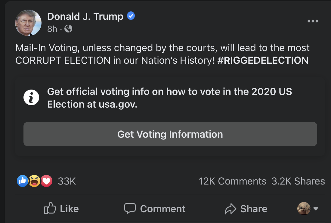 Screen-Shot-2020-07-21-at-4.26.50-PM Facebook Puts Embarrassing Disclaimer On Trump Post Over Blatant Lie Election 2020 Featured Politics Social Media Top Stories