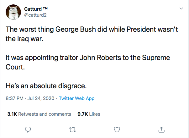 Screen-Shot-2020-07-25-at-9.56.10-AM Justice Roberts Defects From GOP Again In 5-4 Weekend Ruling Coronavirus Featured Politics Supreme Court Top Stories Twitter