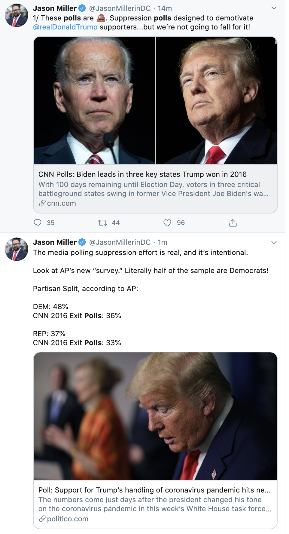 Screen-Shot-2020-07-26-at-9.39.53-AM New Michigan, Arizona & Florida Polls Have Trump Tweeting For His Life Election 2020 Featured Politics Polls Top Stories