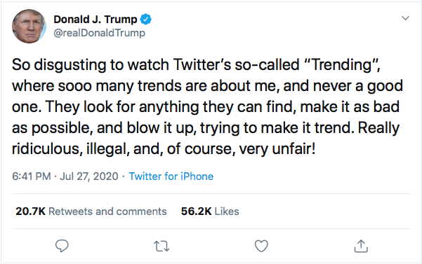Screen-Shot-2020-07-27-at-7.21.43-PM Trump Snarls That 'Cities Will Burn' If Biden Wins During 5-Tweet Freak Out Black Lives Matter Donald Trump Election 2020 Featured Politics Top Stories Twitter