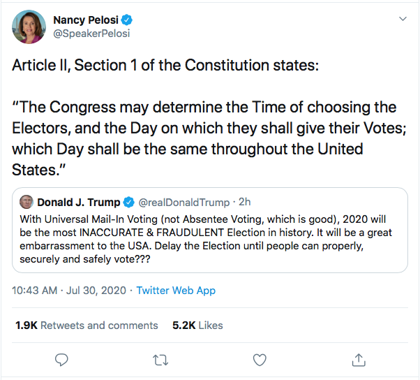 Screen-Shot-2020-07-30-at-10.51.57-AM Pelosi Man-Handles Trump Over Election Delay Threat Conspiracy Theory Coronavirus Donald Trump Election 2020 Featured Politics Top Stories Twitter