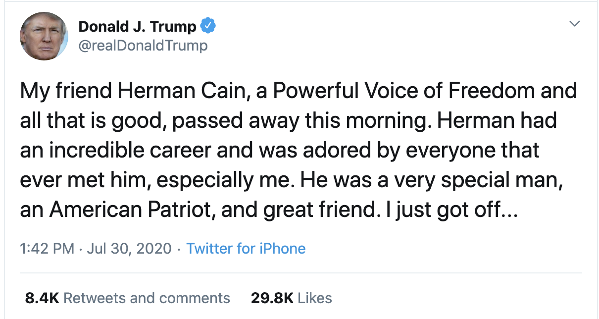 Screen-Shot-2020-07-30-at-2.14.18-PM Trump Finally Tweets About Herman Cain But Gets Roasted In Seconds Coronavirus Featured National Security Politics Top Stories