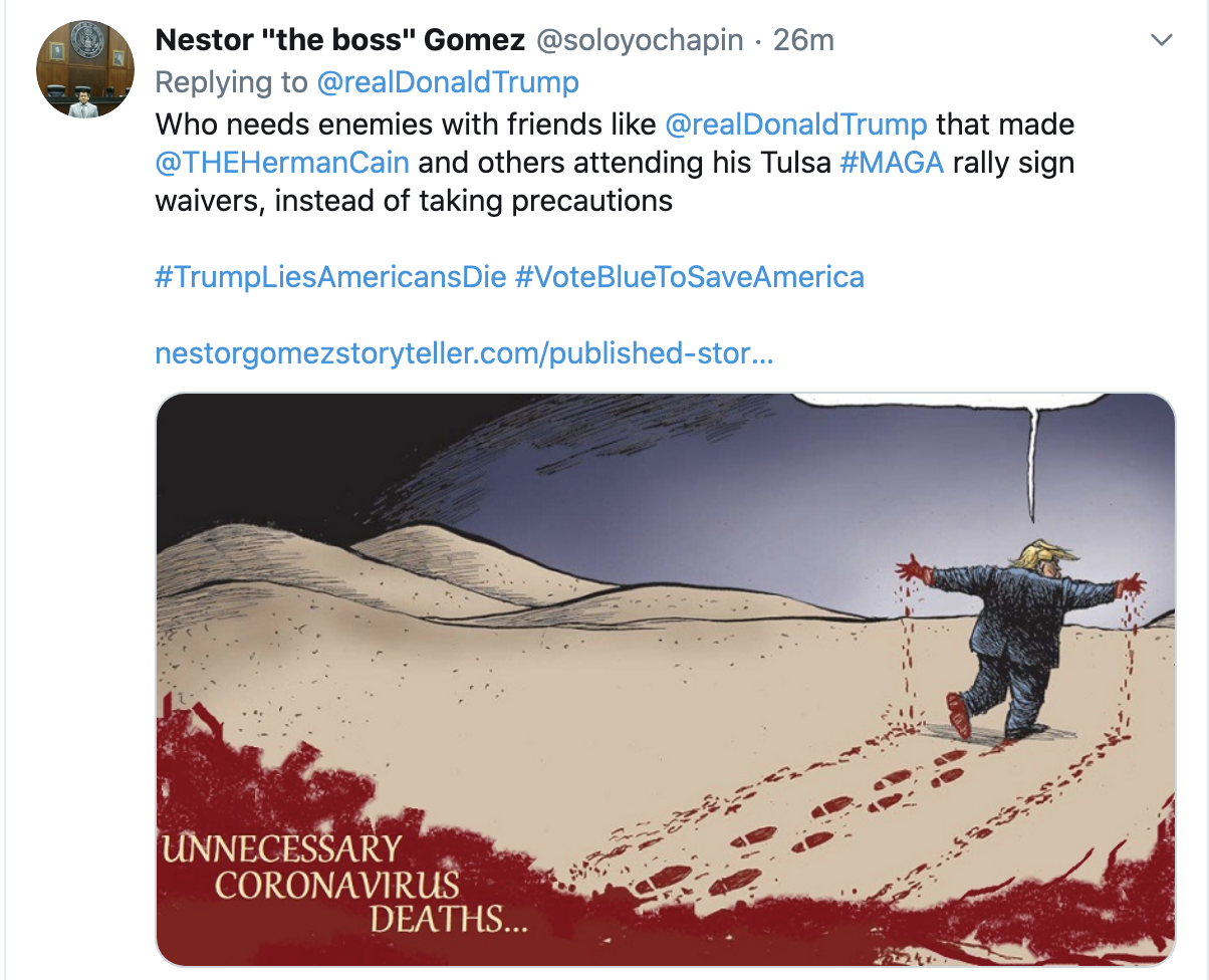 Screen-Shot-2020-07-30-at-2.19.15-PM Trump Finally Tweets About Herman Cain But Gets Roasted In Seconds Coronavirus Featured National Security Politics Top Stories