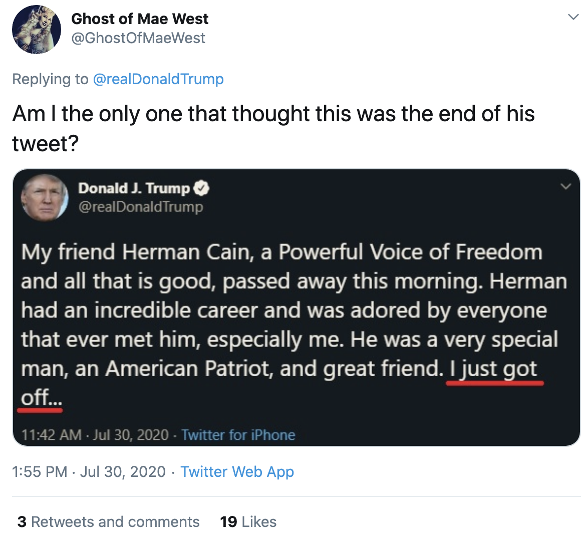 Screen-Shot-2020-07-30-at-2.34.52-PM Trump Finally Tweets About Herman Cain But Gets Roasted In Seconds Coronavirus Featured National Security Politics Top Stories