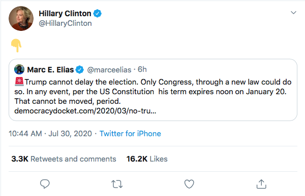 Screen-Shot-2020-07-30-at-3.19.50-PM Hillary Trolls Trump With Single Gesture Over Delayed Election Threat Donald Trump Election 2020 Featured Hillary Clinton Politics Top Stories Twitter