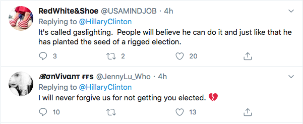 Screen-Shot-2020-07-30-at-3.21.37-PM Hillary Trolls Trump With Single Gesture Over Delayed Election Threat Donald Trump Election 2020 Featured Hillary Clinton Politics Top Stories Twitter